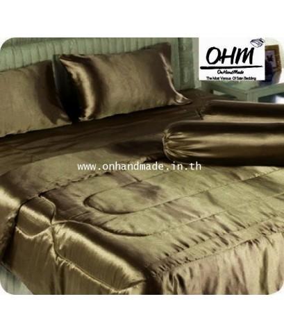 ผ้านวมคู่ ผ้าเครปซาติน 220 เส้น ขนาด 6 ฟุต สีน้ำตาลกาแฟ