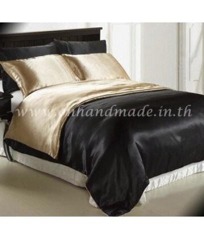 ผ้านวมคลุมเตียงทูโทน ผ้าซาตินแท้ 440 เส้น ขนาด 6 ฟุตพิเศษ(ขนาด 90 นิ้ว x 100 นิ้ว)สีทองน้ำตาลอ่อน-ดำ
