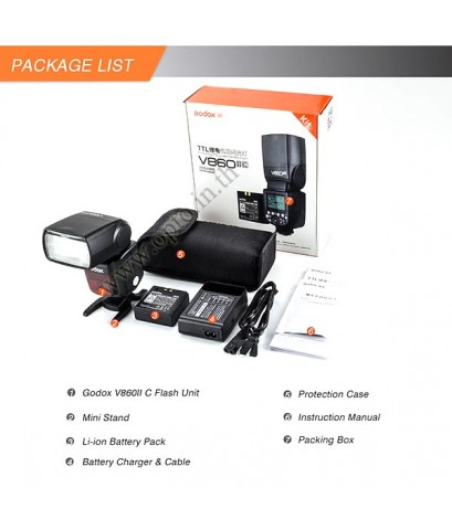 V860IIC Canon Auto E-TTL II Kit Speedlight Li-ion Battery Buit in X1Receive LCD Panel แฟลชออโต้Godox