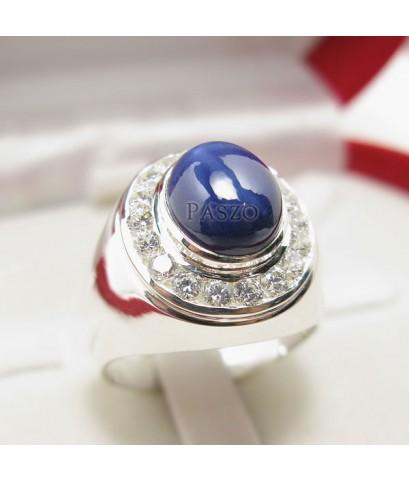 แหวนเงินแท้สำหรับผู้ชาย 925 แหวนพลอยยี่หร่าล้อมเพชร  พลอยมีสตาร์ 6 แฉกสวยงาม (SMRSs002)