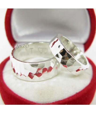 แหวนเงินคู่รัก แหวนลายค้อนทุบ แหวนเิงินแท้ (SS002)