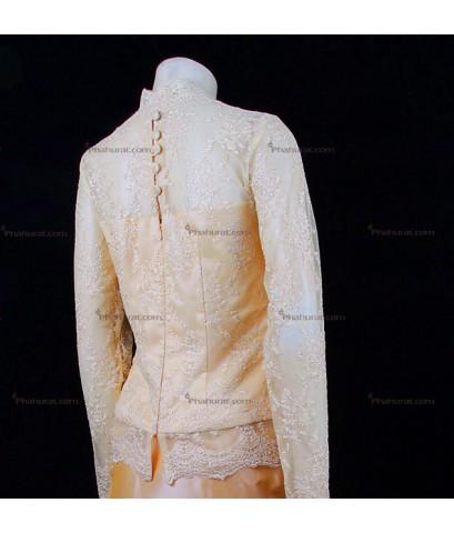 ชุดไทยเสื้อบรมพิมาน(ลูกไม้) กระโปรงป้ายสั้น