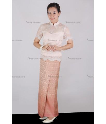 ชุดไทยเสื้อบรมพิมาน (ลูกไม้) แขนสั้น กระโปรงป้ายยาว