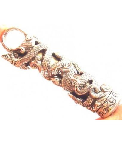 ครูบาเจ้าดวงดี วัดท่าจำปี ตะกรุดนาคบาศ หนังงูเหลือม จารมือ (งูกินหาง) เนื้ออัลปาก้า