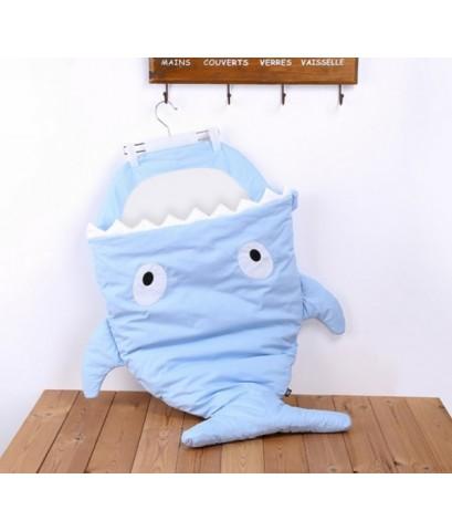 ถุงนอนปลาฉลาม ถุงนอนเด็กรูปปลา สีฟ้าพาสเทล