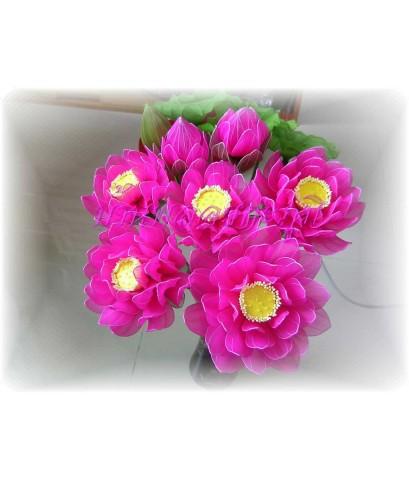 ดอกไม้ผ้าใยบัว ดอกบัวหลวง (ชุด)