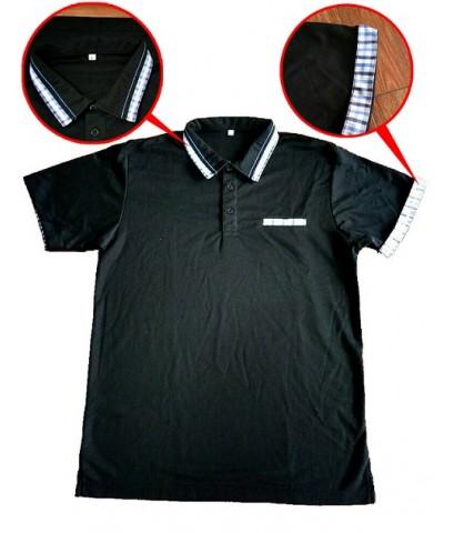 POLO 0060 เสื้อโปโลสีดำราคาถูก รับทำตามออเดอร์ลูกค้า พร้อมปักโลโก้ เนื้อผ้าตามที่ต้องการ