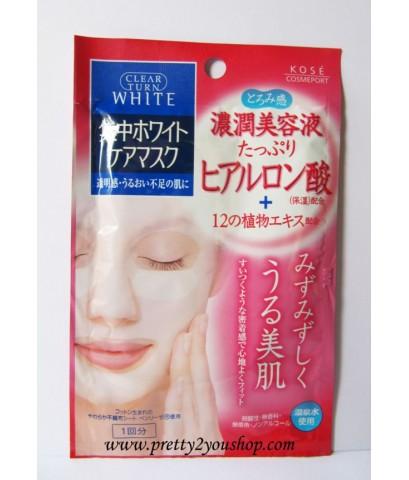 ++สินค้าพร้อมส่ง++Kose Clear Turn White Hyaluronic Acid Mask จำนวน 1 แผ่น