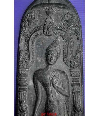 พระบูชากำแพงศอก หลวงพ่อขอม วัดโพธาราม ( วัดไผ่โรงวัว ) จ.สุพรรณบุรี ปี 2505 พิมพ์นิยม ศูนย์เหลี่ยม