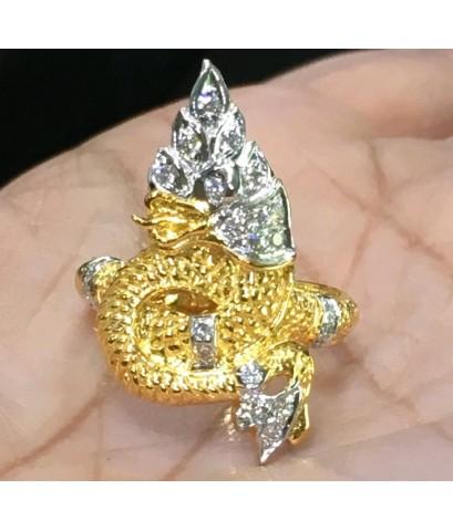 แหวนพญานาค เพชรแท้ ทอง 90