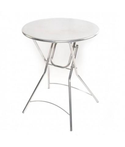 QLine โต๊ะพับสเตนเลสกลมหน้าปั๊มลายนูน 59 cm. รุ่น ST-101