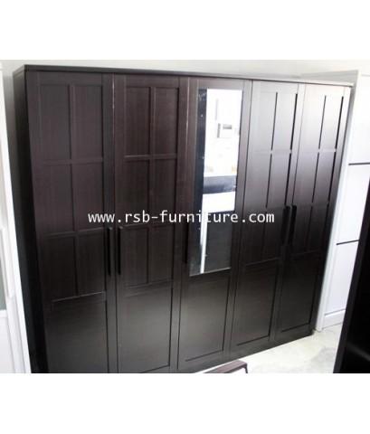 ตู้เสื้อผ้าเน็คต้า 5 บาน กว้าง 225 cm กระจกเงา
