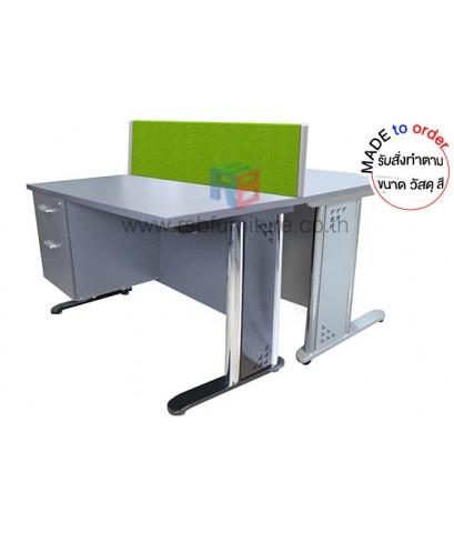 โต๊ะทำงานกลุ่ม ขาเหล็กปั๊มเงา 2 ที่นั่ง ขนาด W120XD120 CM รหัส 2840