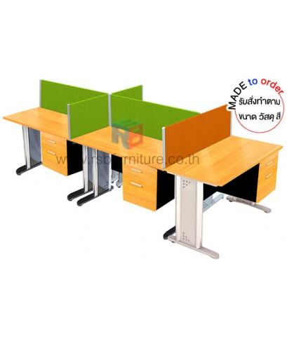 โต๊ะทำงานกลุ่ม 5 ที่นั่ง ขาเหล็ก WORKSTATION พร้อมฉากกั้นบนโต๊ะ ขนาดW 300XD120 CM รหัส 2843