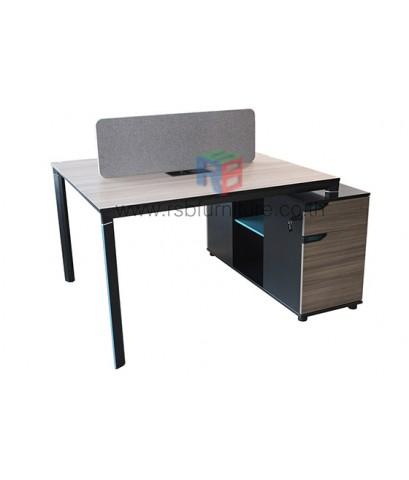 โต๊ะทำงานกลุ่ม WORKSTATION ขนาด W140XD120 CM พร้อมฉาก รหัส 2743