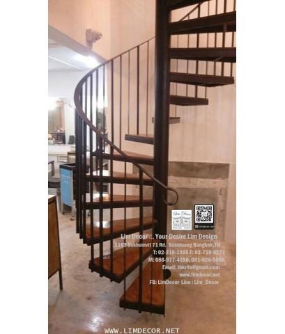 LD–B1254 บันไดวนเหล็กพื้นไม้ระแนง Metal Steel Winder Railing I Staircase with Lath Wood Plate