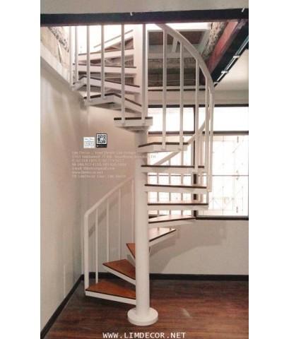 LD–B1283 บันไดวนเหล็กพื้นไม้ระแนง โมเดิร์นโฮม กรุงเทพฯ Metal Winder Railing I Staircase+Rubber Wood