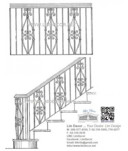 LD–B925 บันไดวนเหล็ก พื้นไม้ระแนง กรุงเทพฯ Metal Steel Winder Railing/Staircase +Lath Wood Plate