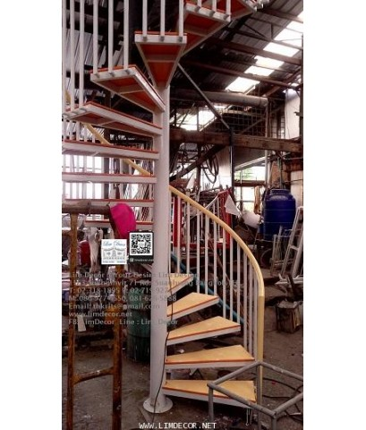LD–B1288 บันไดวนเหล็กพื้นไม้สมาร์ทบอร์ด กรุงเทพฯ Metal Steel Winder Railing I Staircase with Smartbo