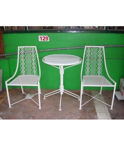 รหัสสั่งซื้อ 1012 :  ชุดเหล็กดัดหลังพิงลาย 3 ชิ้น โต๊ะกลม