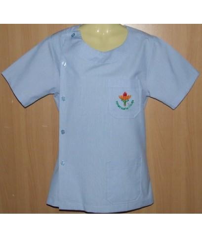 เสื้อฟ้าขาว คอกลมผ่าข้าง ปักกระทรวงสาธารณสุข