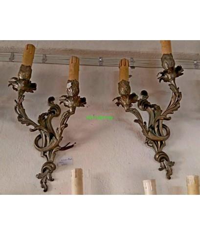 โคมไฟผนังทองเหลืองทองสำริด  กิ่งคู่งานฝรั่งเศส