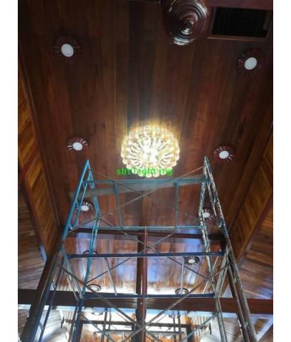 งานติดตั้งโคมไฟคริสตัล ศาลาไม้วัดทรงธรรมวรวิหาร  สมุทรปราการ กรกฎาคม ปี 62