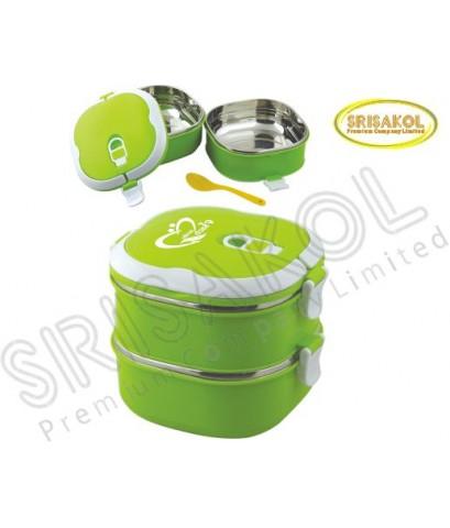 กล่องใส่ข้าว 2 ชั้น นำเข้า รหัส A1904-9I (สีเขียว)