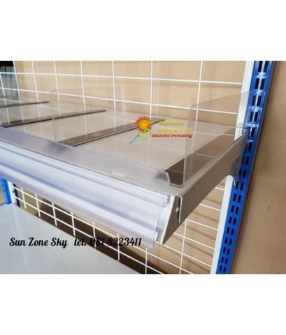 พลาสติกกั้นแบ่งสินค้าสำหรับชั้นวางสินค้า ขนาด 3x6x 30 cm.