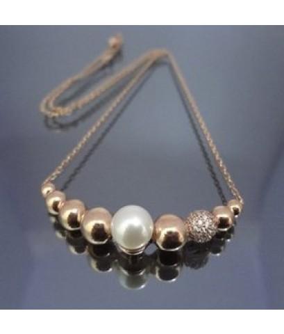 สร้อยคอทองคำขาว ความยาวเชือกเส้นเล็กเป็น 42cm   แต่งไข่มุก 8ชิ้นไซสวยหรู ทันสมัย