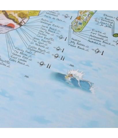 Awesome Maps : AWSAMZ001* แผนที่โลก Surftripmap The Worldmap of Surfing Poster