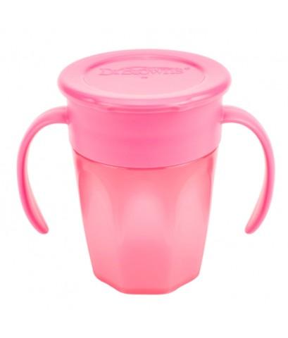 Dr.Brown\'s : DRBTC71003 ถ้วยหัดดื่ม Cheers 360 Cup w/Handles, 7oz. Pink