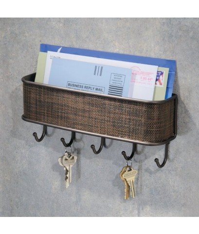InterDesign : ITD95870* Twillo Mail Letter Holder Key Rack Organizer for Entryway Kitchen