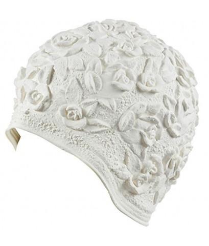 Beemo : BMOWHE* หมวกว่ายน้ำ Women's Swim Bathing Cap Turban White