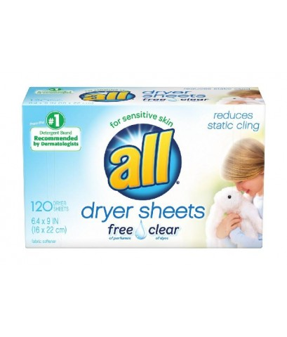 all : ALLFRE-120* แผ่นอบผ้านุ่ม Fabric Softener Dryer Sheets Free Clear 120 Count