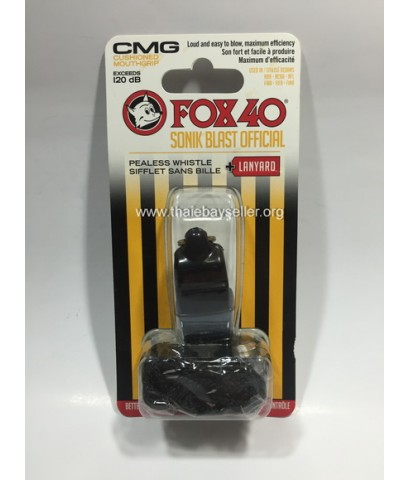 นกหวีด FOX 40 Sonik Blast CMG + Lanyard (สีดำ) 120 dB ของใหม่ ของแท้