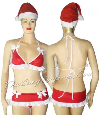 ชุดเซ็กซี่คริสมาสคอสตูม Sexy Santa Bra and Skirt  Costume 3pieces.