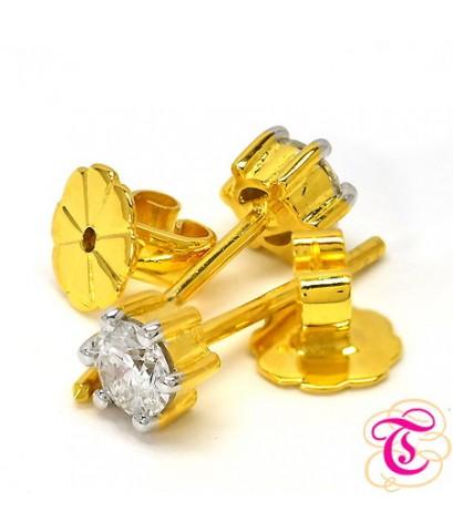 ต่างหูทองแท้ 90 ประดับพร้อมเพชรแท้เบลเยียม 0.50 กะรัต สินค้ามีใบรับประกัน