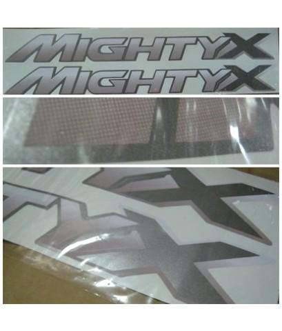สติ๊กเกอร์แต่งรถ (STICKER) TOYOTA - MIGHTY X  (MTX) สีเทา-ขาว (แบบเล็ก)