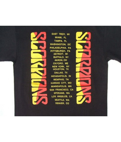 เสื้อทัวร์วงร็อคผ้า 50/50 Vintage 89 SCORPIONS Rock tour concert thin t-shirt M (SOLD)