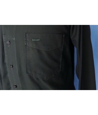 เสื้อเชิ้ต BALLY Men Used Designer Shirt Dark Green Cotton 38