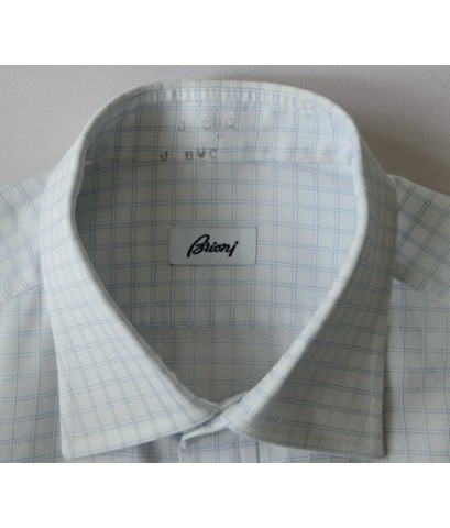 เสื้อแบรนด์หรู Brioni Italy Made Men Used Designer Shirt Plaid 16.5-35