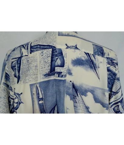 เสื้อเชิ้ตผ้าเรยอง OK d by VOLPATO Italy Rayon Men Shirt Sailboats Print L