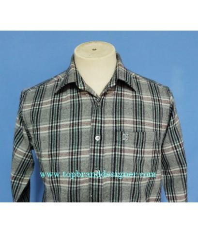 เสื้อผ้าวูล DAKS London Wool Men Used Designer Shirt Check Plaid M