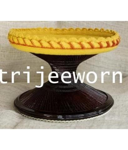 ขาบาตร ไม้ไผ่ ย้อมสี Dyed Coconut Wood Alms Bowl Stand