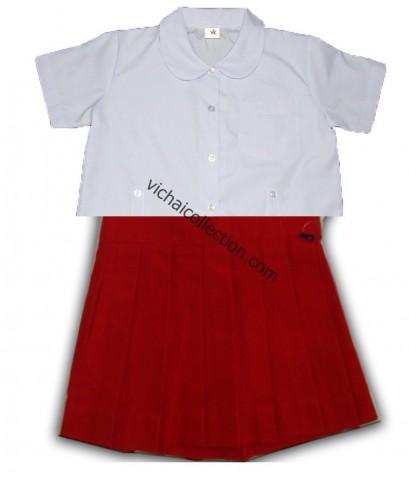 ชุดนักเรียนอนุบาล หญิง สีแดง ตรา สมาร์ทSSเสมอ เบอร์4