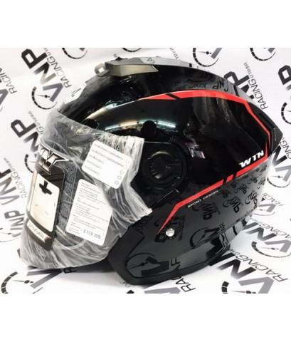 หมวกกันน็อค BM รุ่น WIN เปิดคาง นวมถอดซักได้ ราคาประหยัด สีดำเงา ไซค์ L