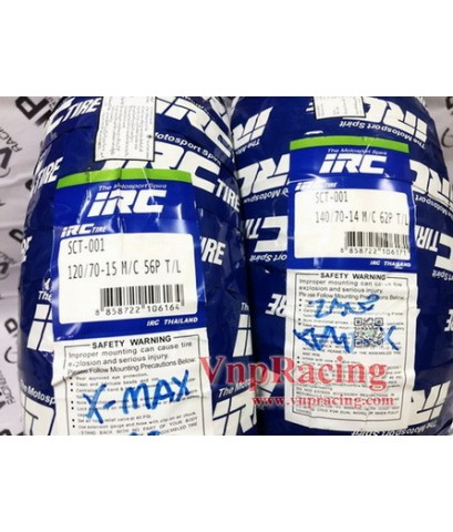 ยางนอกไออาร์ซี  ขอบ 14 นิ้ว IRC sct-001 120/70-15 140/70-14 สำหรับรถ FORZA300-ปี18,X-MAX