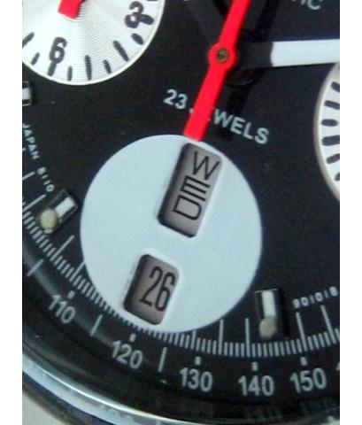 citizen มดเอ็กซ์ 1970 auto chronograph ขนาด 38mm for man, lady หน้าปัดดำประดับหลักเวลาขีดพรายน้ำ กระ