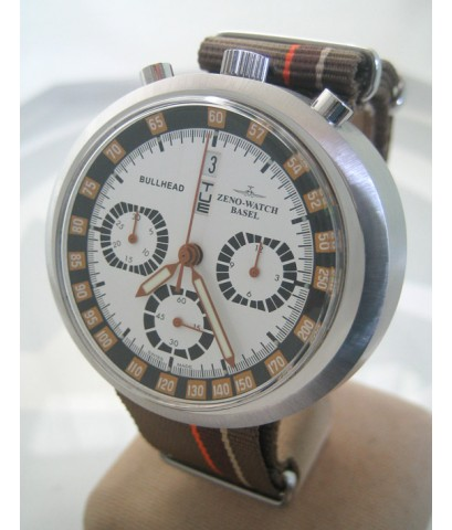 ZENO watch basel BULLHEAD auto chronograph ขนาด king size 43x46 หน้าปัดขาวบอกวันและวันที่ ขอบวงในบอก